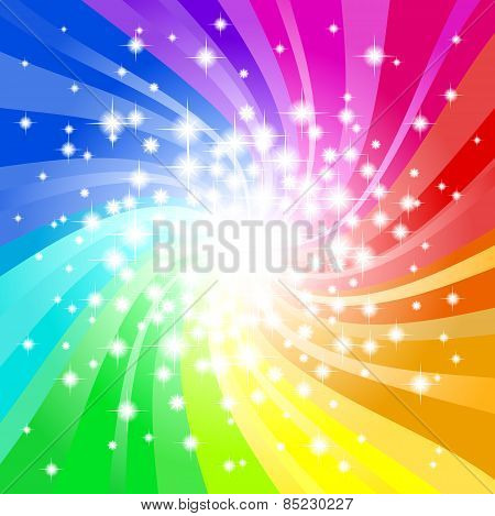 Abstract Rainbow Colored Star Background