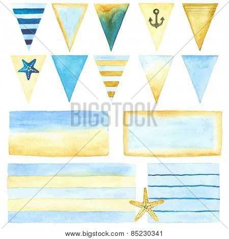 Watercolor collection of labels and banners in marine style, set 1.