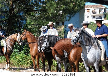 Spanish men on horses, Marbella.