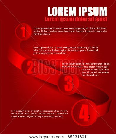 Red vector background with four steps on 3D wave and places for texts