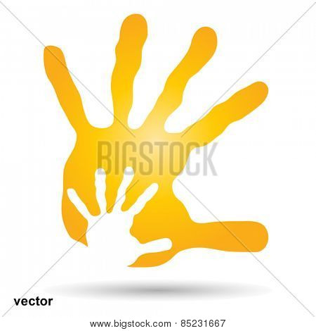 Vector concept  human or mother and child hand prints painted, isolated on white background  for art, care, childhood, family, fun, happy, infant, symbol, kid, little, love, mom, motherhood or young