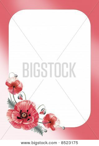 poppy flower frame or border