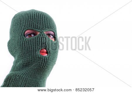 Green balaclava mask