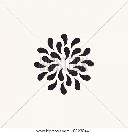 Vector logo white floral background. Silhouette plants drops black emblem