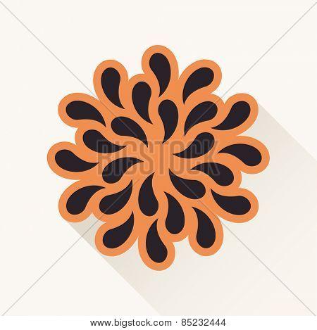 Vector orange vintage emblem logo. Silhouette plants drops paper brown