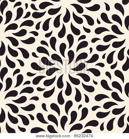 Vector seamless pattern. Floral vintage backgrounds drops on foliage plants