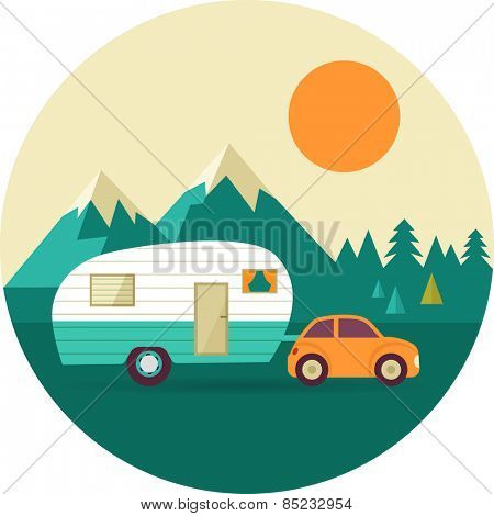 Vector vintage background with nature, forest, mountains and camper car