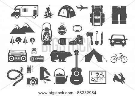 Hiking and camping - set of vintage icons, elements