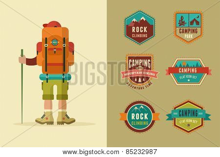 Hiking, camp badges - set of icons and elements. Vector poster with backpacker