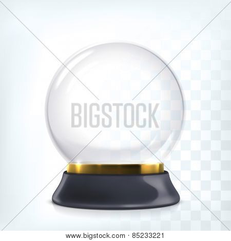 Vector transparent empty snow globe. Christmas crystal ball.