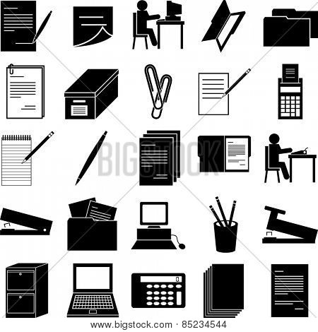 office work symbols set