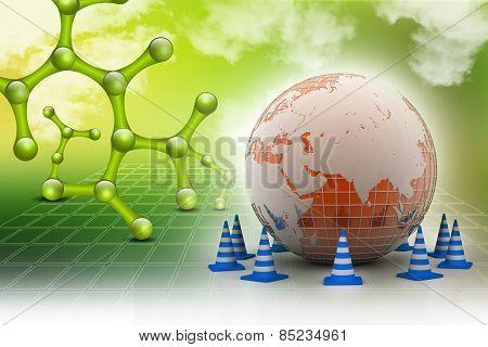 Globe and traffic cone