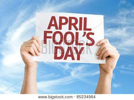 April Fool's Day card with sky background
