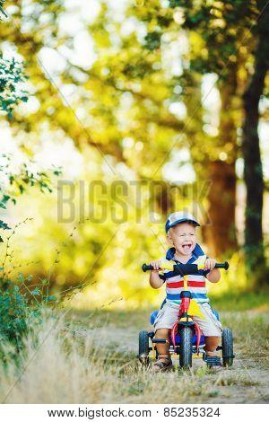 Little boy riding a tricycle in the Park in the summer.