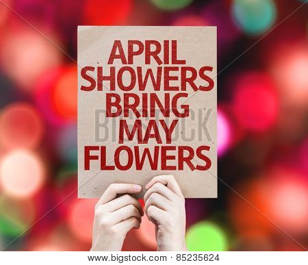 April Showers Bring May Flowers card with bokeh background