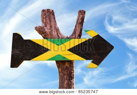 Jamaica Flag sign with sky background