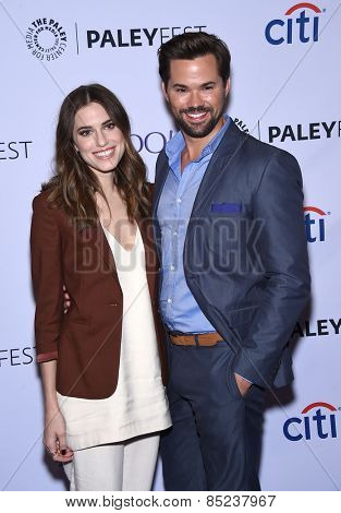 LOS ANGELES - MAR 08:  Allison Williams & Andrew Rannells arrives to the Paleyfest 2015