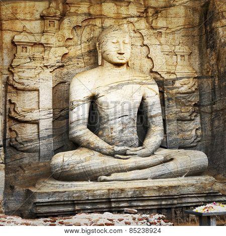 Unique monolith Buddha statue in Polonnaruwa temple - medieval c