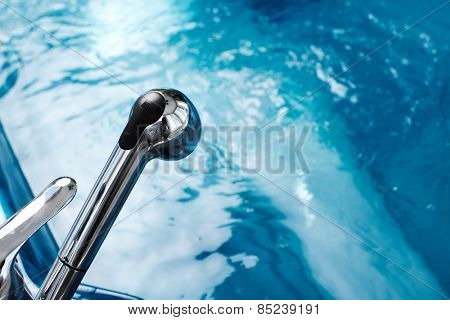 Blue clear fresh Water in bath. Ecology.