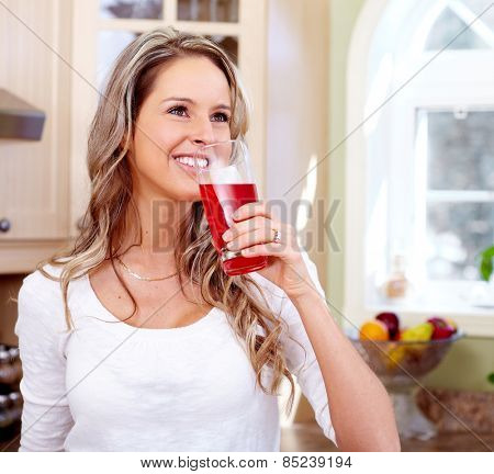 Young beautiful woman portrait. People at home.
