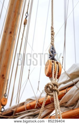 Mast of a large sailing boat and details of rigging