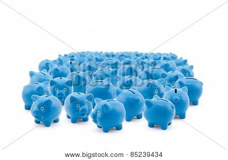 Large group of blue piggy banks