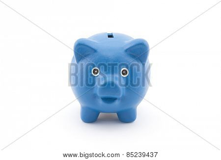 Blue piggy bank with clipping path