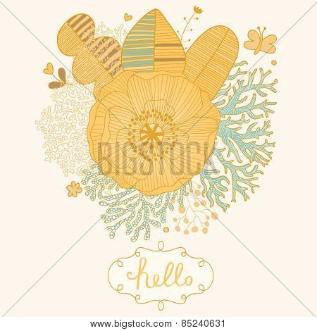 Sweet floral background made of leafs, corals, poppy flower and butterflies in stylish cartoon style with textbox