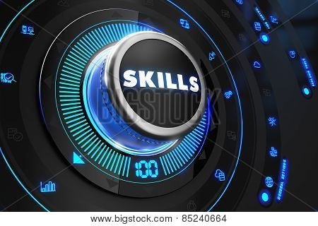 Skills Button with Glowing Blue Lights.