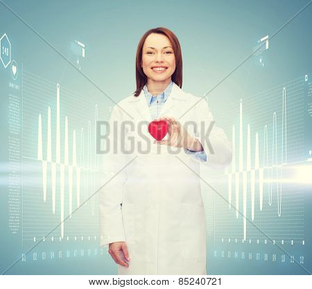 healthcare and medicine concept - smiling female doctor with heart