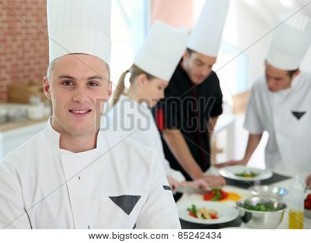 Closeup of student in catering school