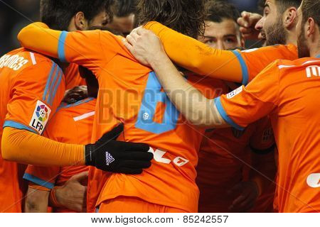BARCELONA - 8, FEB: Valencia CF players hugging during spanish League match against RCD Espanyol at the Estadi Cornella on February 8, 2015 in Barcelona, Spain