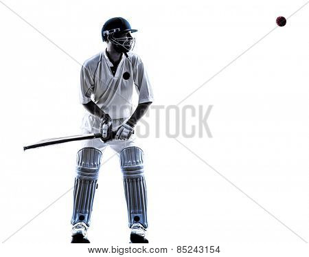 Cricket player batsman in silhouette shadow on white background