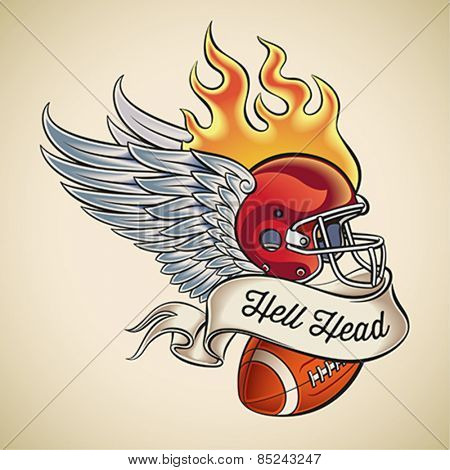 American football tattoo design of a flaming helmet with wings and a leather ball wrapped with banner. Editable vector illustration.