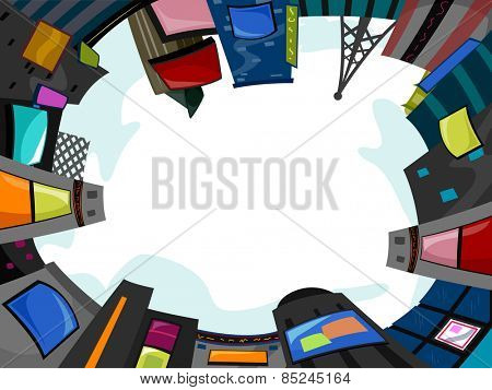 Background Illustration of Buildings with Jumbotrons Forming  a Circle