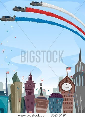 Illustration of a Festive City Celebration Highlighted by an Aviation Show