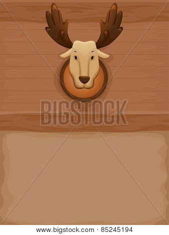 Background Illustration of a Stuffed Moose Mounted on a Wall