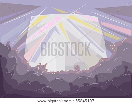 Background Illustration of the Silhouettes of the Audience of a Rock Concert