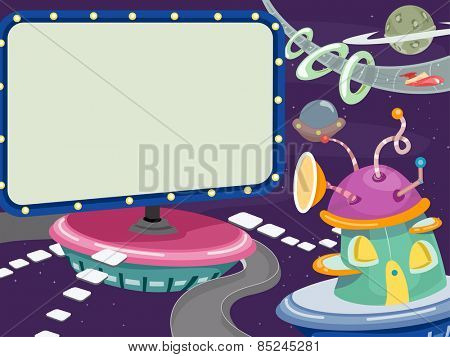 Background Illustration of Billboards Floating in the Middle of the Outer Space
