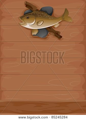 Background Illustration of a Stuffed Fish Mounted on a Wall