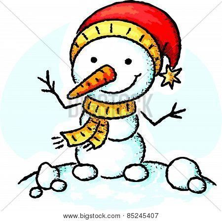 Snowman in a Santa hat