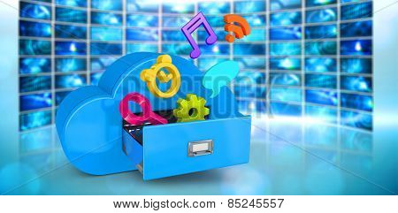 Cloud computing drawer against screen collage showing computing images