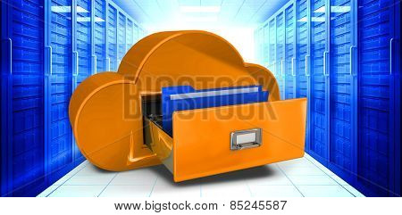 Cloud computing drawer against digitally generated server room with towers