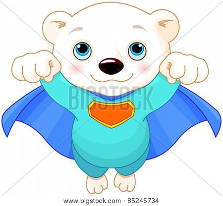 Illustration of Super Hero Polar Bear