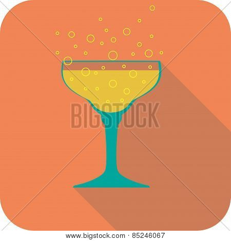 Glass Champagne Flat Design Stylized Vector Party Drink Icon
