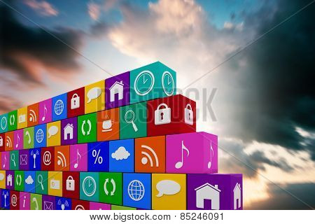 App wall against blue and orange sky with clouds