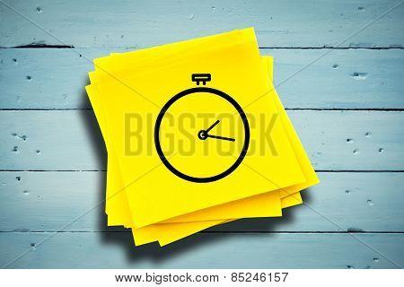 Stopwatch against sticky note