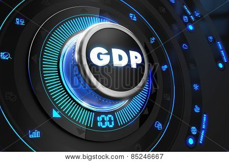 GDP Button with Glowing Blue Lights.