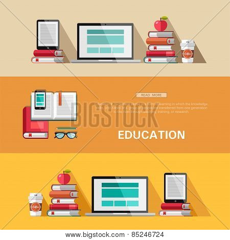 Flat design concepts - education.