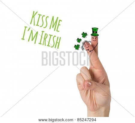 Patricks Day fingers against kiss me im irish